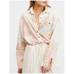 Free People Button-down Long Sleeves Shirt Small